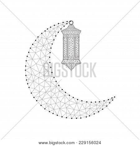 Ramadan Kareem. Vector Islam Religious Illustration Of Polygonal Arabic Lantern Fanoos And Golden Po