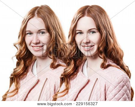 Smiling Redhead Girl In Pink Jacket Before And After Retouch.