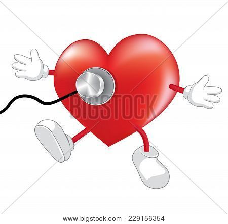 Heart Character Health Check Up, Illustration Isolated On White Background. Health Concept.