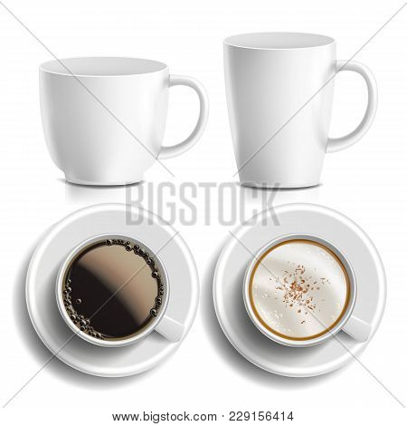 Coffee Cups Vector. Top, Side View. Different Types. Coffee Menu. Hot Coffee. Fast Food Cup Beverage