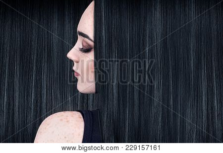 Beautiful Woman With Luxurious Long Black Hair Background. Beautiful Long Smooth Shiny Straight Hair