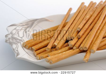 Bread Sticks On Plate
