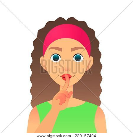 Cartoon Beautiful Woman Saying Hush Be Quiet With Finger On Lips Gesture. Flat Vector Secret Girl. F