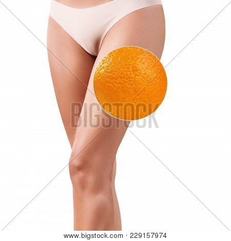Female Buttocks With Zoom Circle Shows Orange Peel. Absence Of Cellulite Concept.