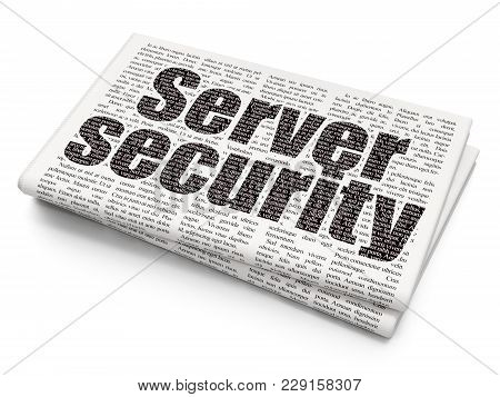 Safety Concept: Pixelated Black Text Server Security On Newspaper Background, 3d Rendering