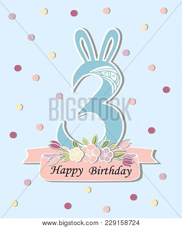 Vector illustration vector photo free trial bigstock vector illustration with number three bunny ears and floral wreath template for birthday maxwellsz