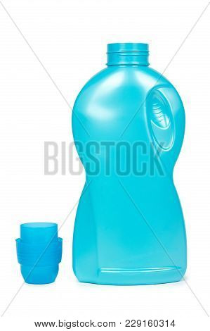 Blue Plastic Liquid Detergent Bottle. Isolated On White Background. Laundry Container, Merchandise T