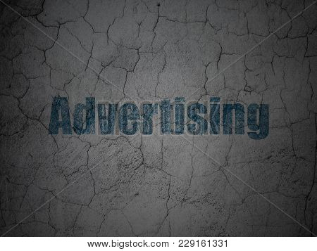 Advertising Concept: Blue Advertising On Grunge Textured Concrete Wall Background