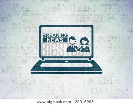 News Concept: Painted Blue Breaking News On Laptop Icon On Digital Data Paper Background With  Tag C