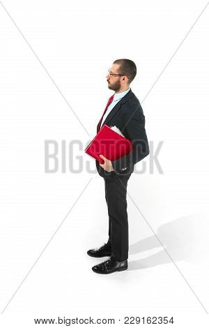 Full Body Or Full-length Portrait Of Businessman With Red Folder On White Studio Background. Serious