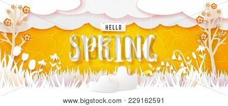 Spring Flowering Meadow And Trees. White Grass And Flowers Carved From White Paper On A Yellow Backg