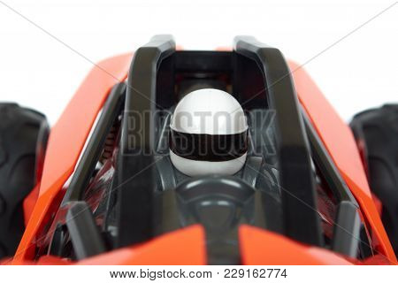 Rc Model Rally, Off Road Race Buggy Close Up Detail. Macro Car, Driver In Helmet.