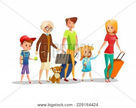 Family With Travel Bags Vector Illustration. Isolated Icons Of Family Kids, Parents Or Grandparents