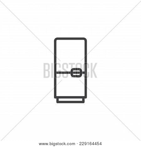 Fridge Outline Icon. Linear Style Sign For Mobile Concept And Web Design. Refrigerator Simple Line V