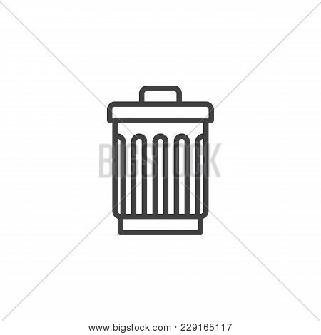 Trash Can Outline Icon. Linear Style Sign For Mobile Concept And Web Design. Bin, Delete Simple Line