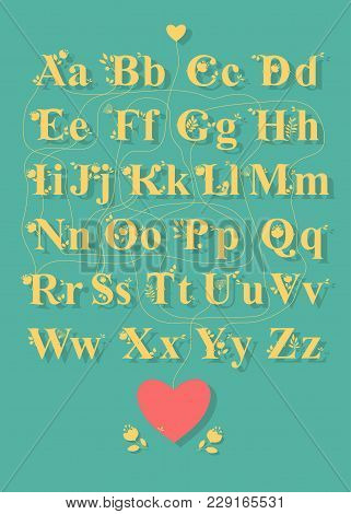 Artistic Alphabet With Encrypted Romantic Message Thanks For Being You. Yellow Letters With Floral D