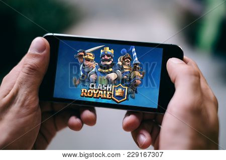 Cologne, Germany - March 02, 2018: Closeup Of Screen Of Clash Royale Game