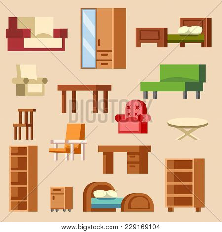 Vector Home Interior Furniture Furnishings Design Of Bedroom With Furnished Interior Of Apartment An