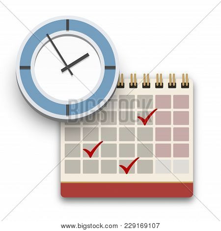 Clock And Calendar With Check Marks Icon. Completed Task, Schedule, Appointment Or Deadline Concept.