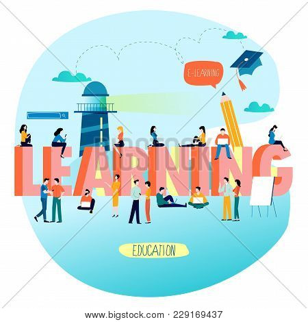 Education, Training Courses, Distance Education Flat Vector Illustration. Word Learning With Group O