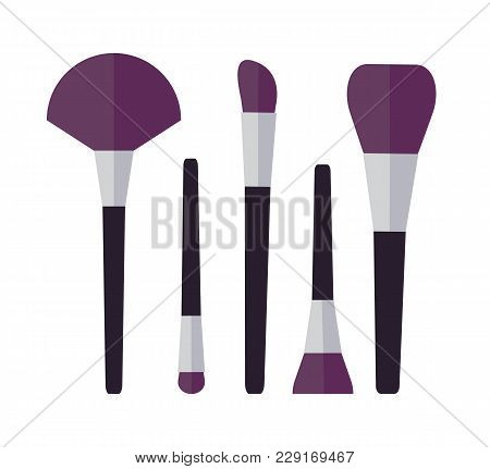 Cosmetic Brushes For Make Up, Set Of Tools Used To Apply Eyeshadows And Foundation, Collection On Ve