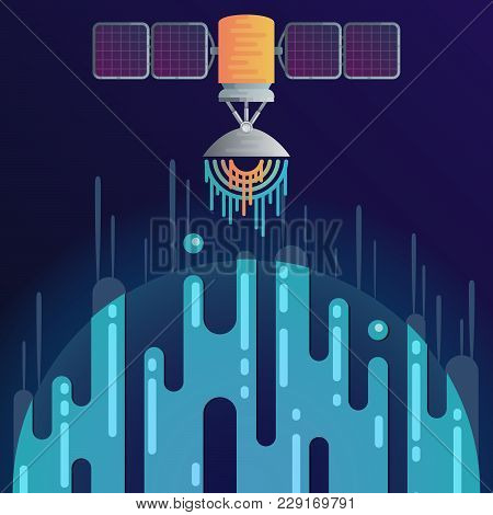 Vector Illustration Of Sci-fi Planet In Space And Solar Cell Satellite With Radar Dish Station With