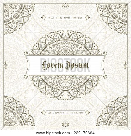Vintage Frame With Hand Drawn Corner Patterns. Greeting Card, Invitation Or Label Template. Vector I
