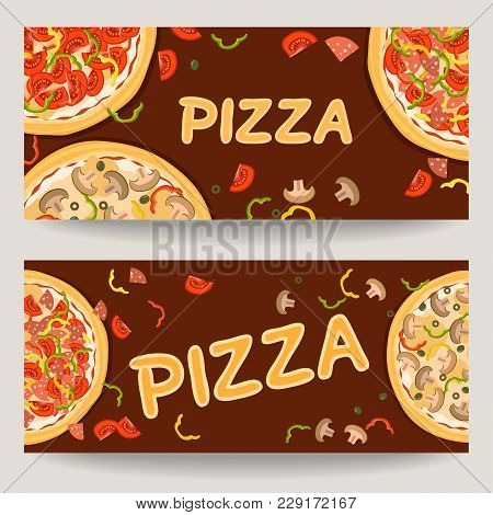 Realistic Pizza Flyer For Advertising Pizzeria. Two Horizontal Banners With Ingredients And Text. Ve