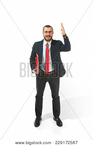 Choose Me. Concept Of Choose The Best Candidate. Full Body View Of Businessman Raising His Hand On W