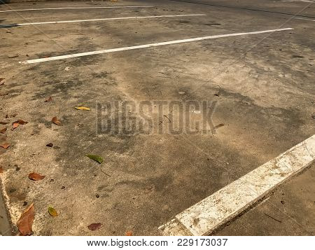 Empty Parking Spot With White Line At Parking Lot