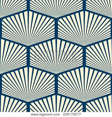 Modern Stylish Seamless Ornament In Wallpaper Design Consisting Repeating Striped Hexagons With Dive