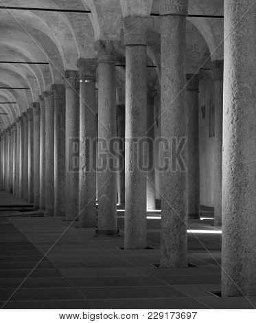 Long Colonnade With Granite Columns Inside - Indoor