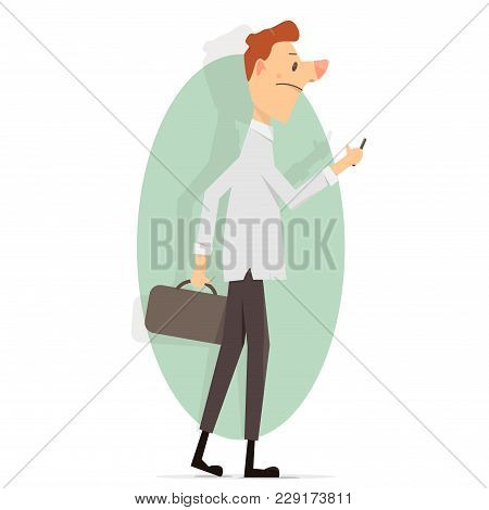 Young Man With A Phone In His Hand. Cartoon Character Vector Illustration. Funny Animation Style.