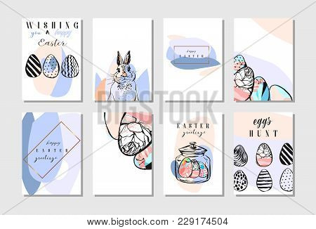 Hand Drawn Vector Abstract Creative Happy Easter Greeting Card Design Collection Set Template With F
