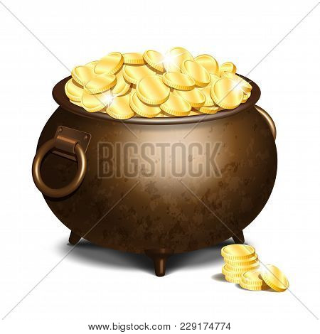 Old Iron Cauldron Full Of Gold Coins Isolated On White Background. Stack Of Gold Coins Near The Vint