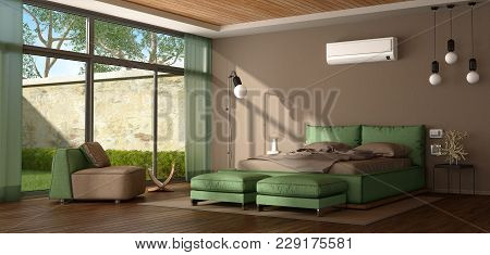 Brown And Green Modern Master Bedroom With Bed,armchair And Air Conditioner - 3d Rendering