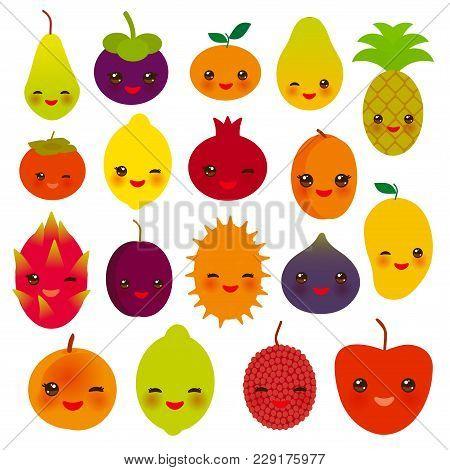 Set Of Cute Funny Kawaii Fruit Pear Mangosteen Tangerine Pineapple Papaya Persimmon Pomegranate Lime