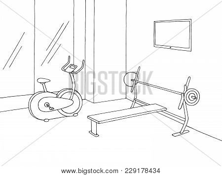 Gym Interior Graphic Black White Sketch Illustration Vector
