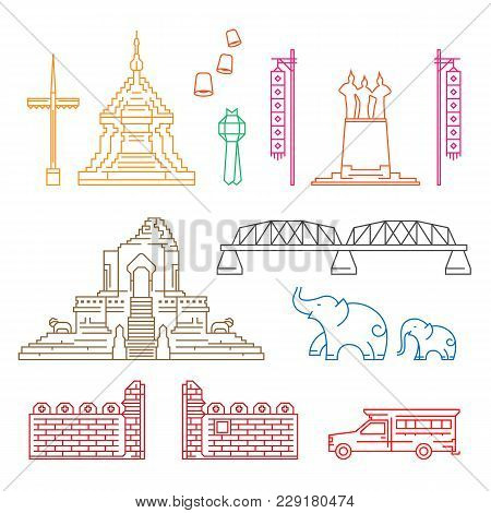 Chiang Mai Symbol And Landmark With Abstract Line Border Art Vector Illustration Set Design