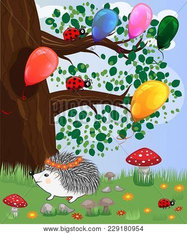 Forest Landscape, Cartoon Illustration With Ladybirds, Mushrooms, Mushrooms, Sun, Hedgehog, Sleepy,