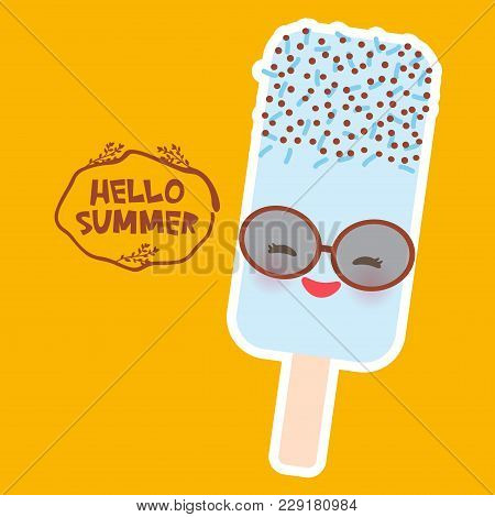 Hello Summer Ice Cream, Ice Lolly Blue, Kawaii With Sunglasses Pink Cheeks And Winking Eyes, Pastel