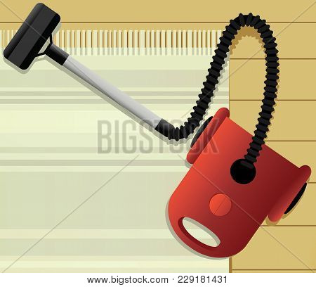 Housecleaning Background With Vacuum Cleaner - Vector Illustration