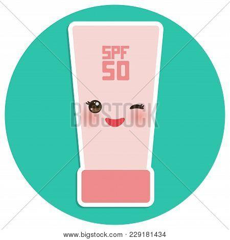 Suntan Lotion Sun Cream Container. Sunscreen Spf 50. Pink Tube On Blue Background. Sun Care Cosmetic