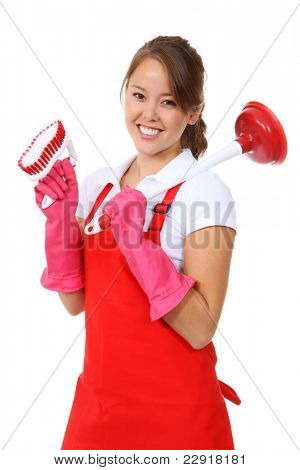 A cute maid woman cleaner with plunger and brush