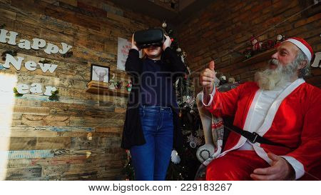 Small Canadian Boy Enthusiastically Plays With Virtual Reality Glasses. Kid With Blond Hair, Gray Sw