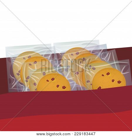 Chocolate Chip Cookie, Freshly Baked Four Cookies. Present Gift Box With Biscuits In Transparent Pla