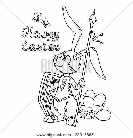 Bunny Knight With A Lance And Shield. Vector Illustration Isolated On White Background. Page For Col