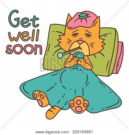 Sickening Cat With Thermometer Under The Blanket. Get Well Card. Isolated Objects On White Backgroun
