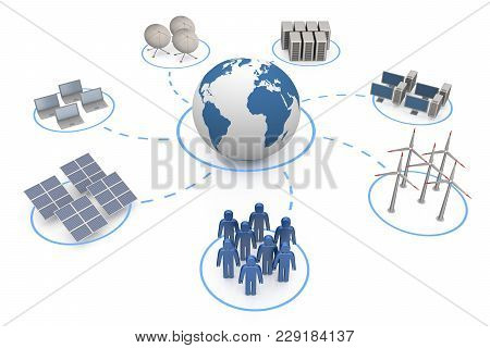 Global Communication. White Isolated 3d Rendering Graphic Background