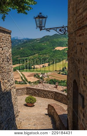 View Of The Beautiful Italian Countryside From The Medieval Town Of Montone In Umbria